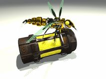 Robot wasp sits on container. Robot wasp sits atop of a chemical container Stock Images