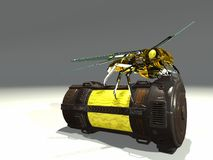 Robot wasp sits on container royalty free stock photography