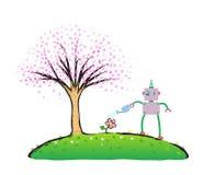 Robot watering flower in spring sakura garden Royalty Free Stock Image