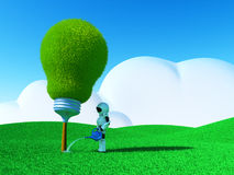 Robot watering lightbulb-tree Stock Photography