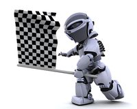 Robot waving chequered flag. 3D render of a Robot waving chequered flag Stock Image