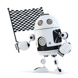 Robot waving chequered flag.. Contains clipping path. 3d Robot waving chequered flag.. Contains clipping path Royalty Free Stock Photos