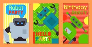 Robot waving, robotic dog friend design for kid party set of banners, cards vector illustration. Birthday party welcome vector illustration