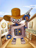 A robot wearing a hat and holding a gun. Illustration of a robot wearing a hat and holding a gun Stock Images