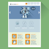 Robot web site theme layout. Digital background vector illustration Royalty Free Stock Photography