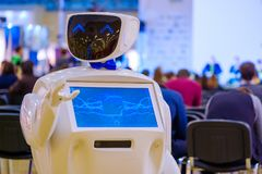 Robot welcomes conference guests Royalty Free Stock Image
