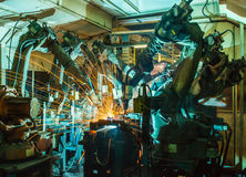 Robot welding Royalty Free Stock Photos