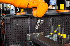 Robot welding process Royalty Free Stock Images