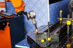 Robot welding process Royalty Free Stock Photos