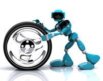 Robot and wheel Royalty Free Stock Image