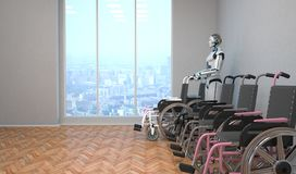 Robot Wheel Chair. A robot with a wheel chair in the room royalty free illustration