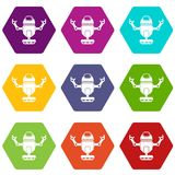 Robot on wheels icon set color hexahedron. Robot on wheels icon set many color hexahedron isolated on white vector illustration Royalty Free Stock Image