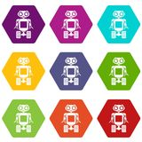 Robot on wheels icon set color hexahedron. Robot on wheels icon set many color hexahedron isolated on white vector illustration Stock Photo