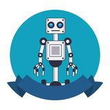 Robot with wheels round emblem vector illustration