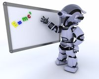 Robot with White class room drywipe marker board Royalty Free Stock Photos