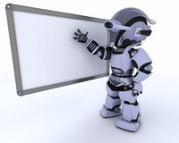 Robot with White class room drywipe marker board Stock Photos