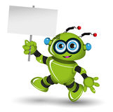 Robot with a white sign Royalty Free Stock Image