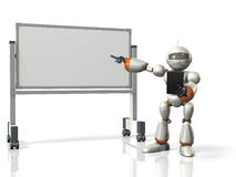 Robot will comment something in front of the whiteboard. Stock Images