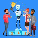 Robot Winner Stands On First Place Of Podium Among People Vector. Isolated Illustration vector illustration