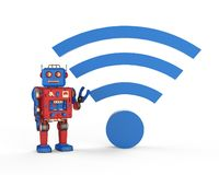 Free Robot With Blue Wi-fi Sign Royalty Free Stock Photography - 159725677