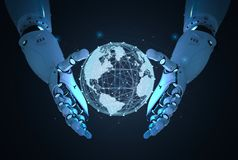 Free Robot With Global Connection Royalty Free Stock Photos - 136366038
