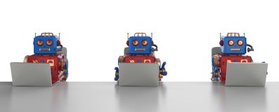 Free Robot With Notebook Computer Stock Image - 159725641