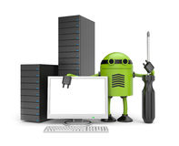 Robot With PC Royalty Free Stock Images