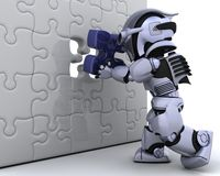 Free Robot With The Final Piece Of The Puzzle Stock Photography - 13618542