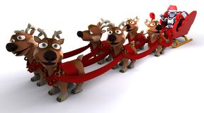 Robot withsleigh and reindeer Royalty Free Stock Photography