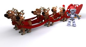 Robot withsleigh and reindeer. 3D render of a Robot withsleigh and reindeer Stock Photography