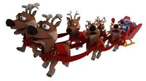 Robot withsleigh and reindeer. 3D render of a Robot withsleigh and reindeer Royalty Free Stock Photos