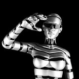 Robot woman. Metal robot woman concept in studio Royalty Free Stock Photos