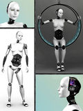 Robot woman collage nr 1. Royalty Free Stock Image