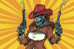 Robot woman gangster steampunk wild West Royalty Free Stock Photo