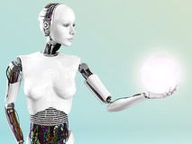 Robot woman holding energy sphere. Royalty Free Stock Photos