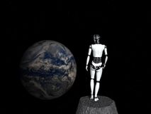 Robot woman looking at earth. Stock Images