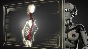 Robot woman manipulatihg hologram display stock video
