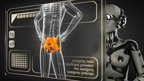 Robot woman manipulatihg hologram display stock video footage