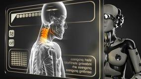 Robot woman manipulatihg hologram display stock footage