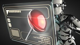 Robot woman manipulating hologram display Stock Photos