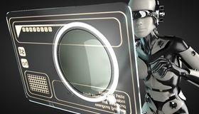 Robot woman manipulating hologram display Royalty Free Stock Image