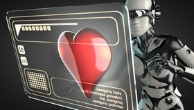 Robot woman manipulating hologram display Royalty Free Stock Photo