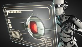 Robot woman manipulating hologram display Royalty Free Stock Photos