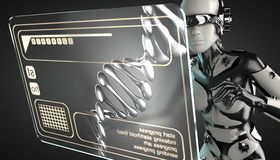 Robot woman manipulating hologram display Stock Photography