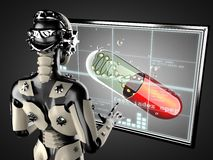 Free Robot Woman Manipulating Hologram Displey Stock Photos - 44065493