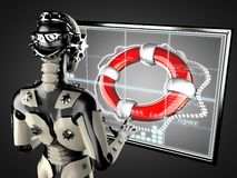 Robot woman manipulating hologram displey Royalty Free Stock Images