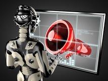 Robot woman manipulating hologram displey Stock Photography