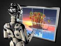 Robot woman manipulating hologram displey Stock Photos