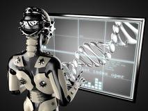 Free Robot Woman Manipulating Hologram Displey Royalty Free Stock Images - 44301349