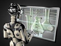 Free Robot Woman Manipulating Hologram Displey Stock Photos - 44301363